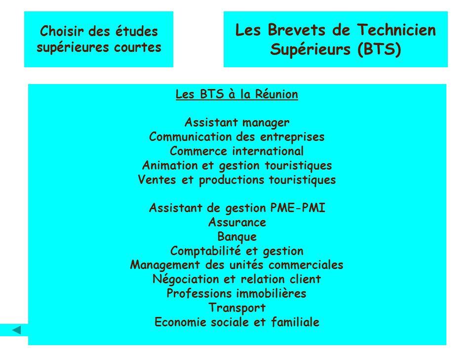 Choisir des études supérieures courtes Les Brevets de Technicien Supérieurs (BTS) Les BTS à la Réunion Assistant manager Communication des entreprises