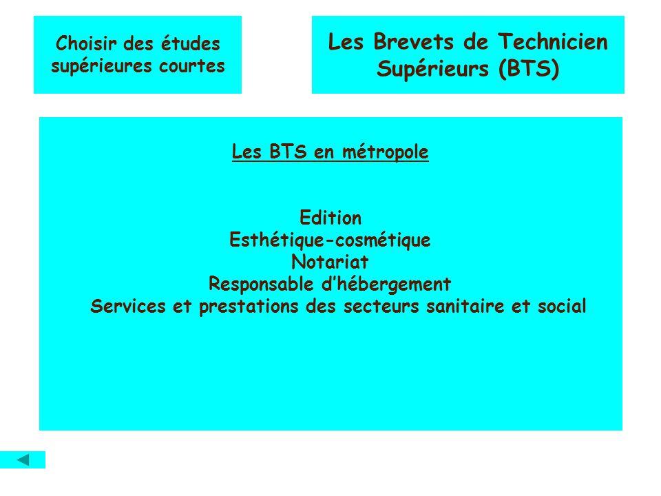 Choisir des études supérieures courtes Les Brevets de Technicien Supérieurs (BTS) Les BTS en métropole Edition Esthétique-cosmétique Notariat Responsa