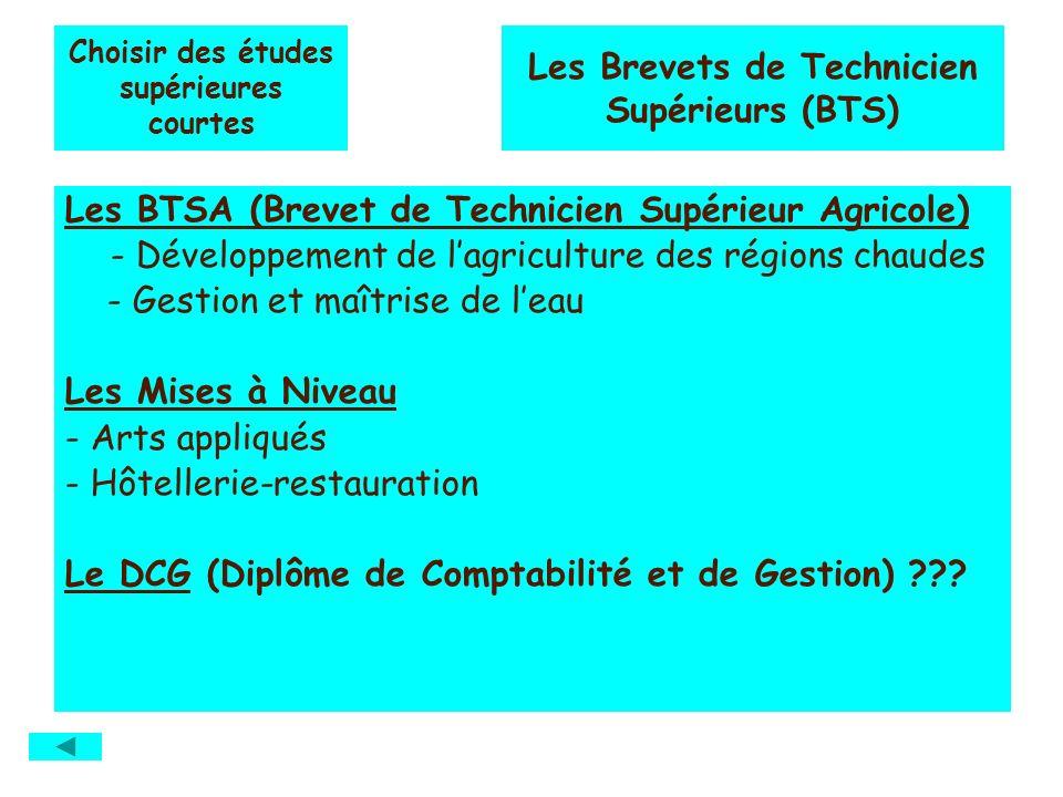 Choisir des études supérieures courtes Les BTSA (Brevet de Technicien Supérieur Agricole) - Développement de lagriculture des régions chaudes - Gestio