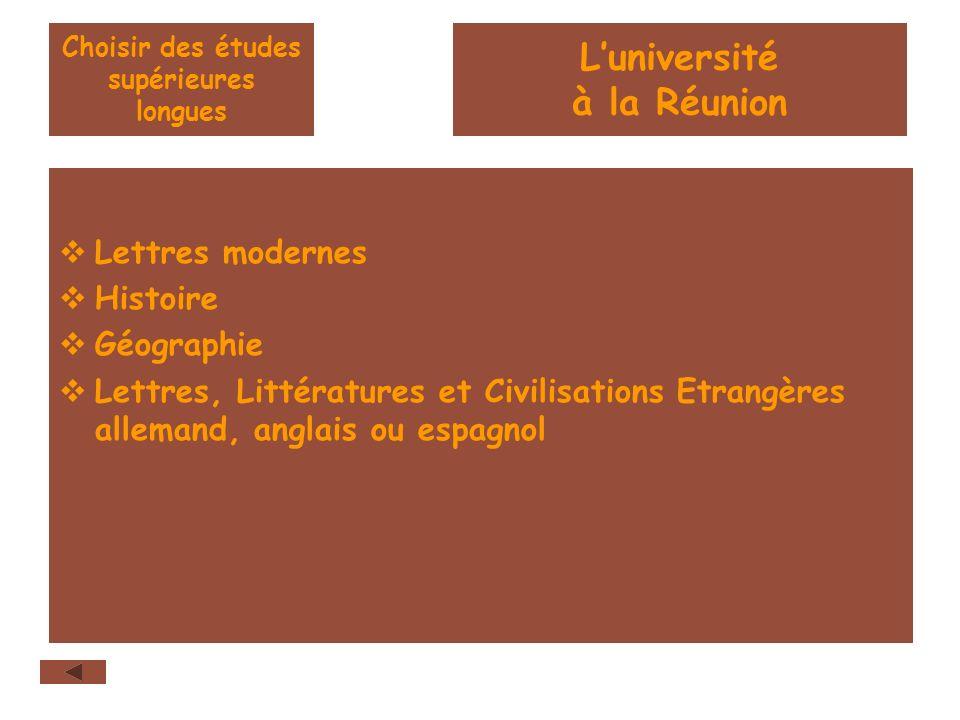 Choisir des études supérieures longues Lettres modernes Histoire Géographie Lettres, Littératures et Civilisations Etrangères allemand, anglais ou esp