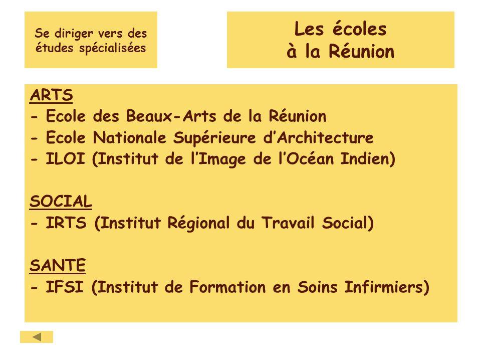 Se diriger vers des études spécialisées ARTS - Ecole des Beaux-Arts de la Réunion - Ecole Nationale Supérieure dArchitecture - ILOI (Institut de lImage de lOcéan Indien) SOCIAL - IRTS (Institut Régional du Travail Social) SANTE - IFSI (Institut de Formation en Soins Infirmiers) Les écoles à la Réunion