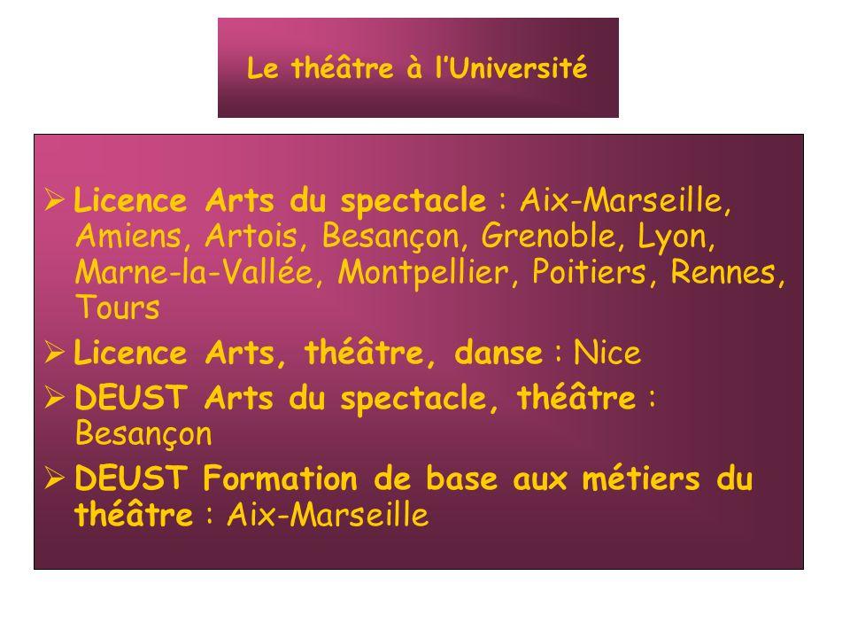 Licence Arts du spectacle : Aix-Marseille, Amiens, Artois, Besançon, Grenoble, Lyon, Marne-la-Vallée, Montpellier, Poitiers, Rennes, Tours Licence Art