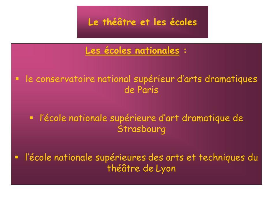 Les écoles nationales : le conservatoire national supérieur darts dramatiques de Paris lécole nationale supérieure dart dramatique de Strasbourg lécol