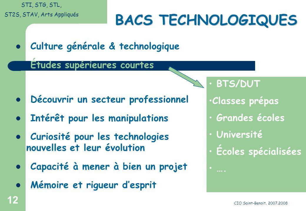 CIO Saint-Benoit. 2007.2008 12 BACS TECHNOLOGIQUES Découvrir un secteur professionnel Intérêt pour les manipulations Curiosité pour les technologies n
