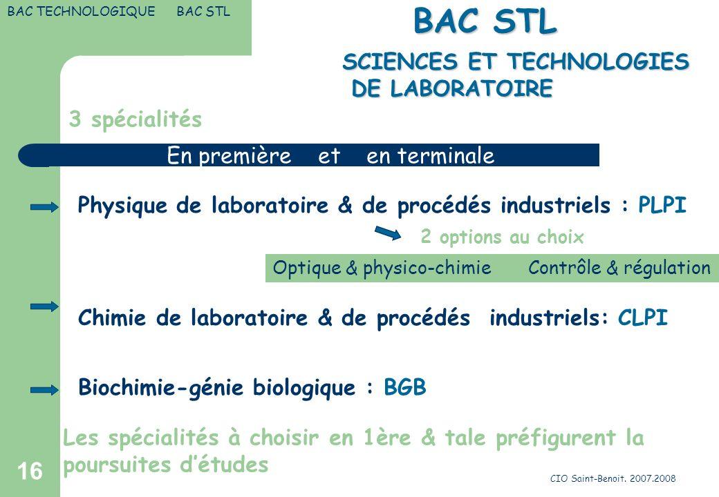 CIO Saint-Benoit. 2007.2008 16 SCIENCES ET TECHNOLOGIES DE LABORATOIRE SCIENCES ET TECHNOLOGIES DE LABORATOIRE BAC STL 3 spécialités Physique de labor