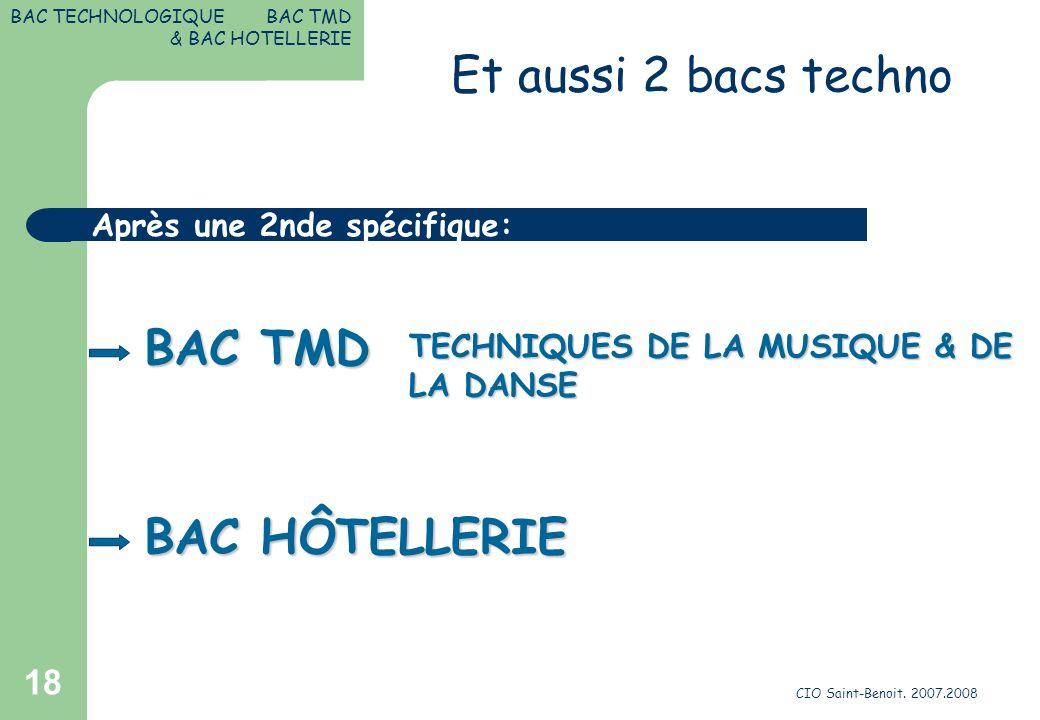 CIO Saint-Benoit. 2007.2008 18 TECHNIQUES DE LA MUSIQUE & DE LA DANSE BAC TMD Après une 2nde spécifique: BAC TECHNOLOGIQUE BAC TMD & BAC HOTELLERIE BA