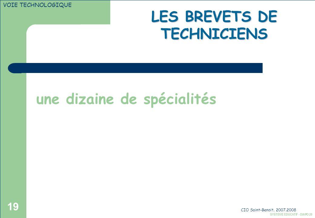 CIO Saint-Benoit. 2007.2008 19 une dizaine de spécialités SYSTEME EDUCATIF - DIAPO 20 VOIE TECHNOLOGIQUE LES BREVETS DE TECHNICIENS