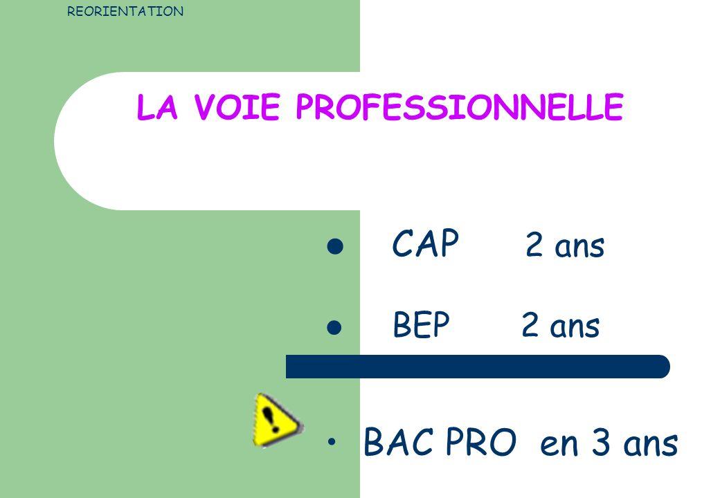 LA VOIE PROFESSIONNELLE CAP 2 ans BEP 2 ans REORIENTATION BAC PRO en 3 ans