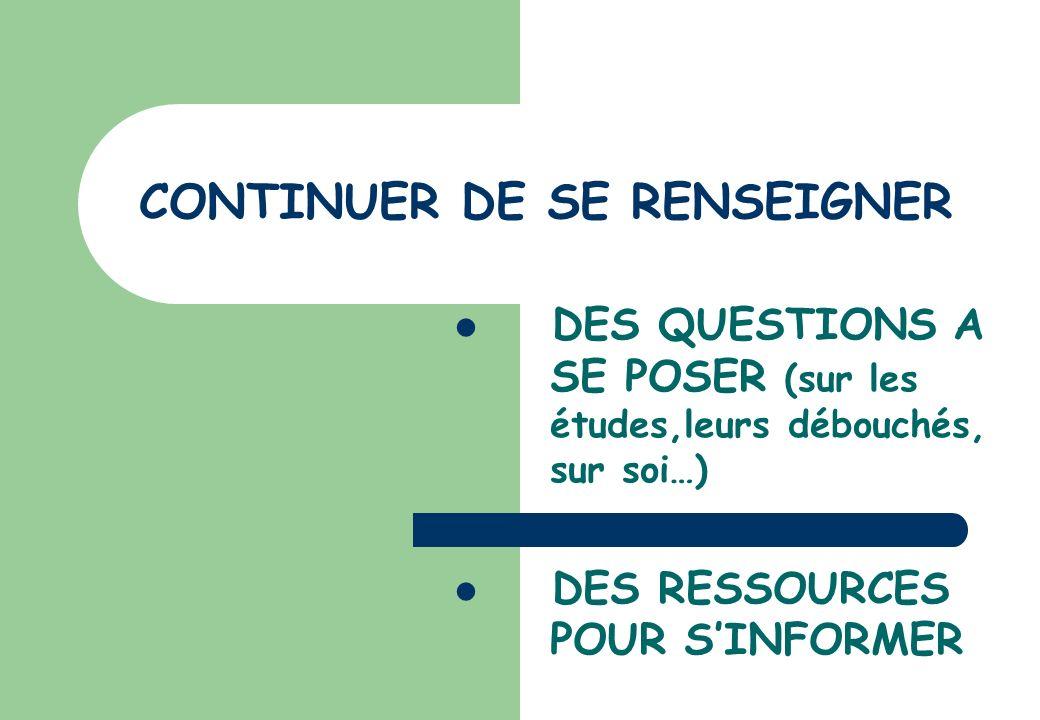 CONTINUER DE SE RENSEIGNER DES QUESTIONS A SE POSER (sur les études,leurs débouchés, sur soi…) DES RESSOURCES POUR SINFORMER