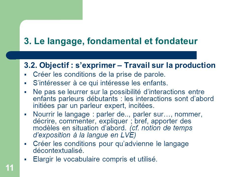 11 3. Le langage, fondamental et fondateur 3.2. Objectif : sexprimer – Travail sur la production Créer les conditions de la prise de parole. Sintéress