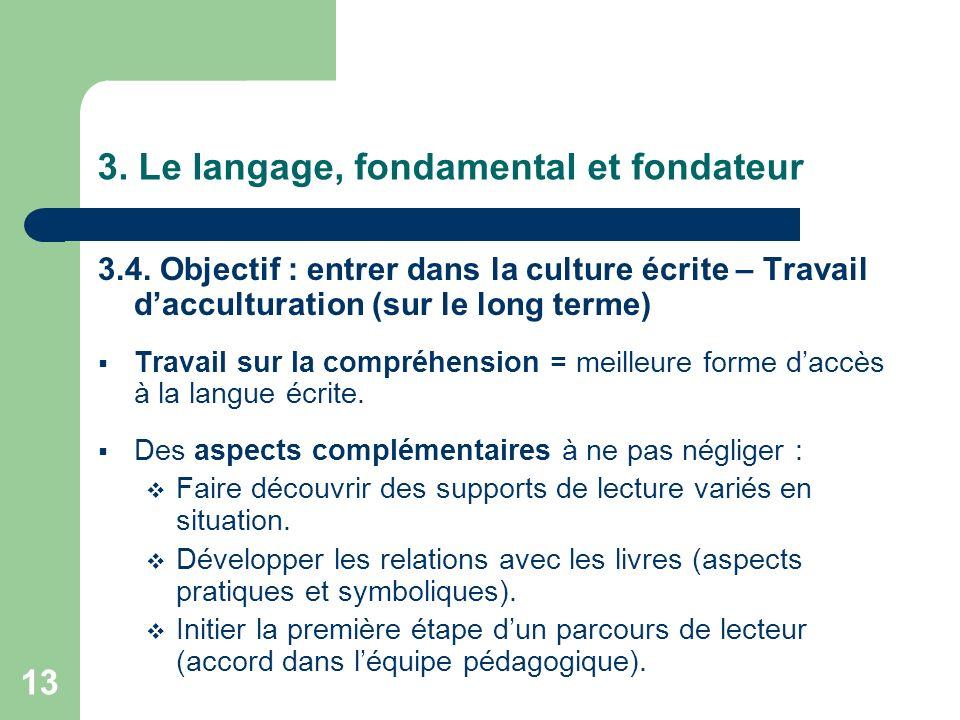 13 3. Le langage, fondamental et fondateur 3.4. Objectif : entrer dans la culture écrite – Travail dacculturation (sur le long terme) Travail sur la c