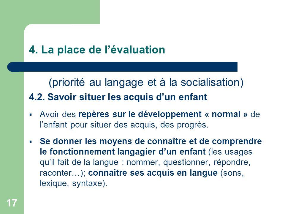 17 4. La place de lévaluation (priorité au langage et à la socialisation) 4.2. Savoir situer les acquis dun enfant Avoir des repères sur le développem