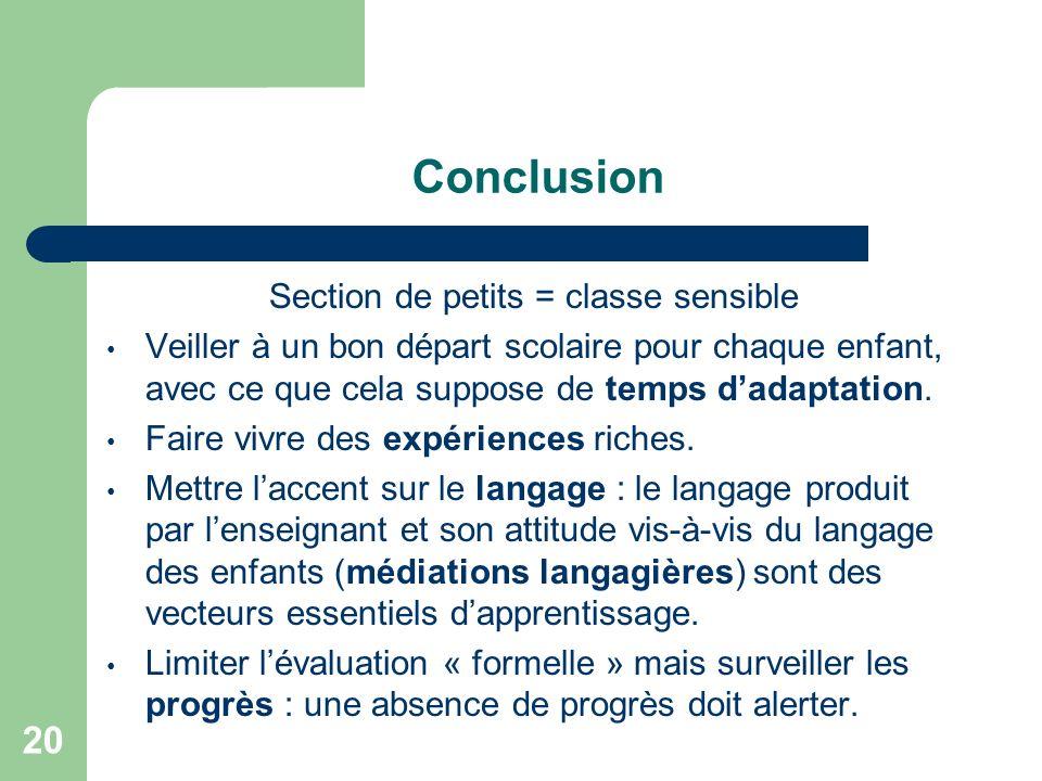 20 Conclusion Section de petits = classe sensible Veiller à un bon départ scolaire pour chaque enfant, avec ce que cela suppose de temps dadaptation.