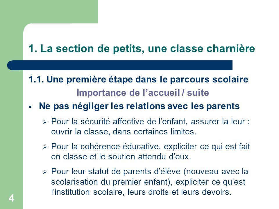 4 1. La section de petits, une classe charnière 1.1. Une première étape dans le parcours scolaire Importance de laccueil / suite Ne pas négliger les r