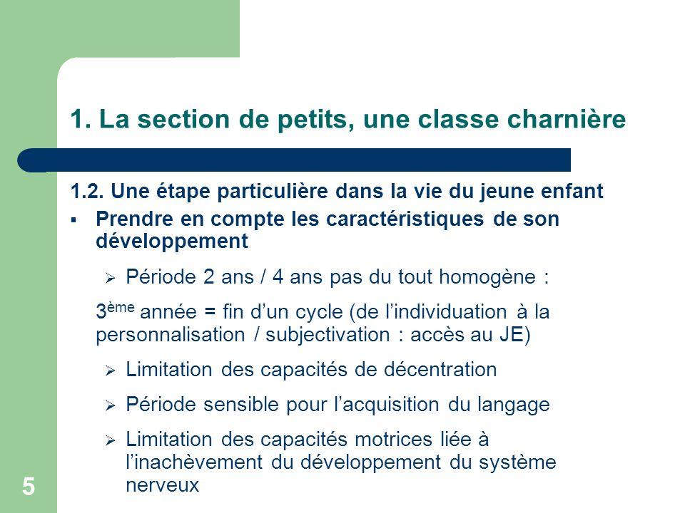 5 1. La section de petits, une classe charnière 1.2. Une étape particulière dans la vie du jeune enfant Prendre en compte les caractéristiques de son