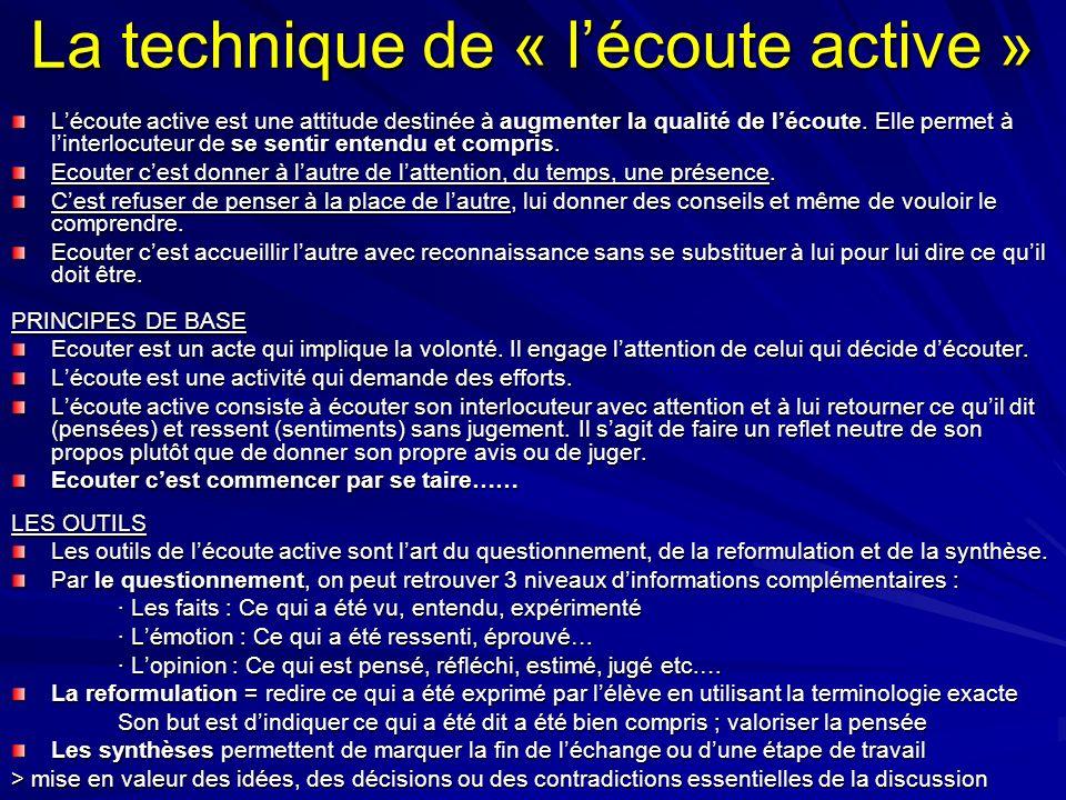 La technique de « lécoute active » Lécoute active est une attitude destinée à augmenter la qualité de lécoute. Elle permet à linterlocuteur de se sent