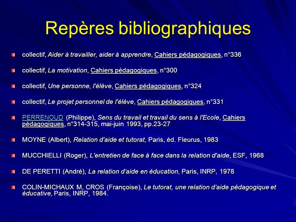 Repères bibliographiques collectif, Aider à travailler, aider à apprendre, Cahiers pédagogiques, n°336 collectif, La motivation, Cahiers pédagogiques,