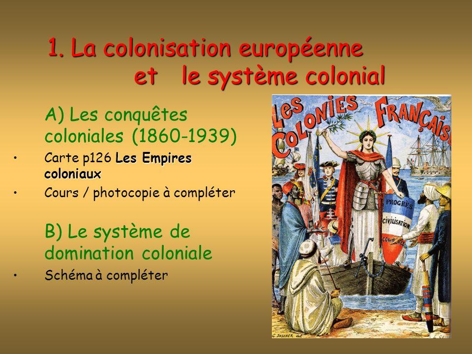 A) Les conquêtes coloniales (1860-1939) Les causes de lexpansion colonialeLes causes de lexpansion coloniale : économiquesSont économiques => accès aux matières 1ères pour développer lindustrie, créer des marchés privilégiés pour les produits de lindustrie et les excédents de capitaux à investir.
