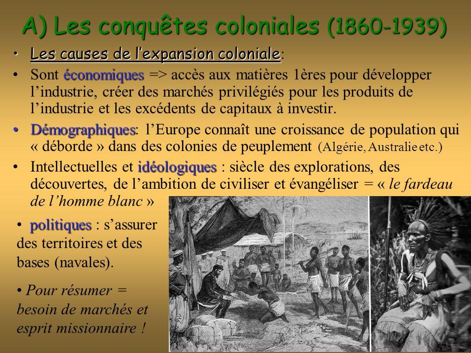 A) Les conquêtes coloniales (1860-1939) Les causes de lexpansion colonialeLes causes de lexpansion coloniale : économiquesSont économiques => accès au
