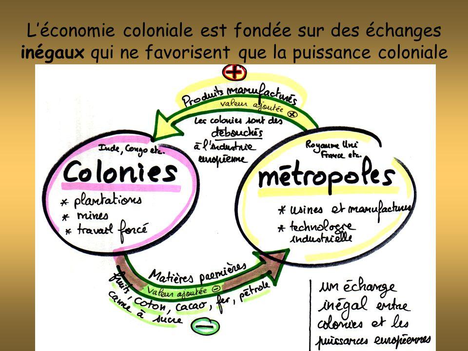 Léconomie coloniale est fondée sur des échanges inégaux qui ne favorisent que la puissance coloniale