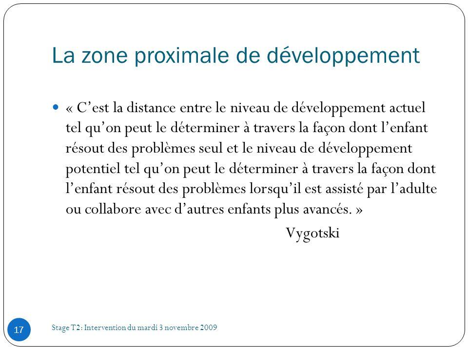 La zone proximale de développement Stage T2: Intervention du mardi 3 novembre 2009 17 « Cest la distance entre le niveau de développement actuel tel q