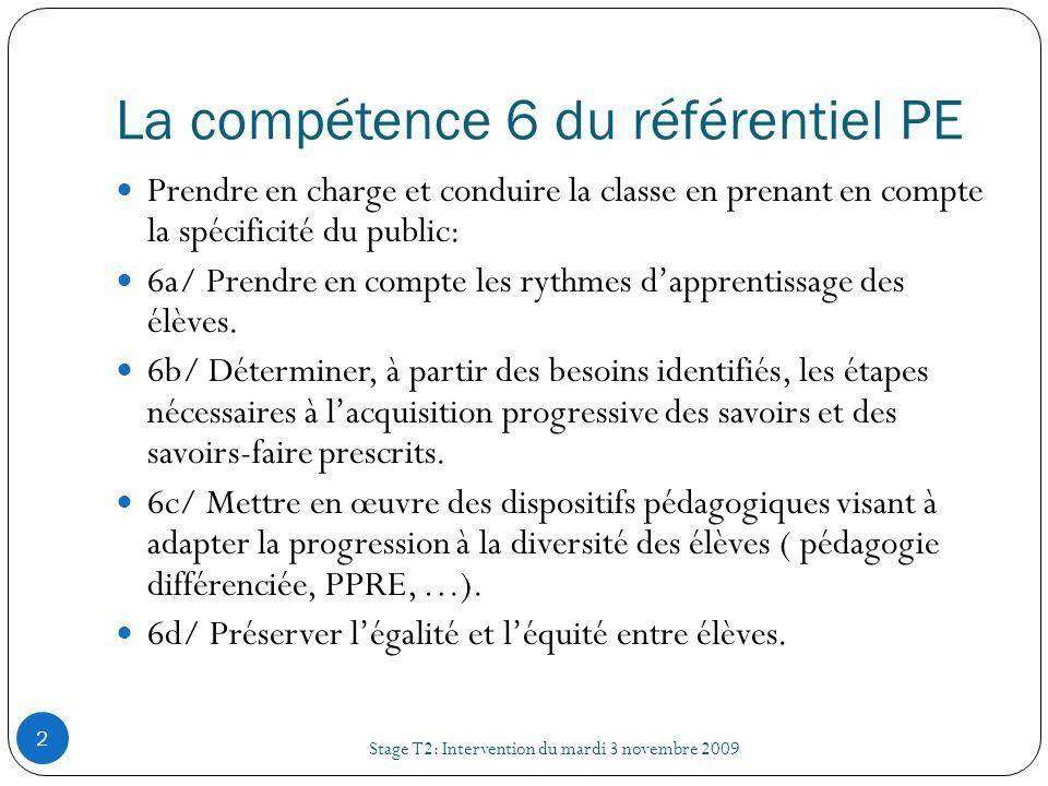 La compétence 6 du référentiel PE Stage T2: Intervention du mardi 3 novembre 2009 2 Prendre en charge et conduire la classe en prenant en compte la sp