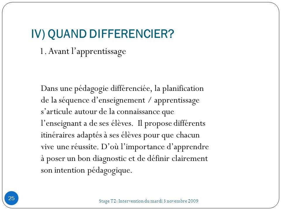IV) QUAND DIFFERENCIER? Stage T2: Intervention du mardi 3 novembre 2009 25 1. Avant lapprentissage Dans une pédagogie différenciée, la planification d