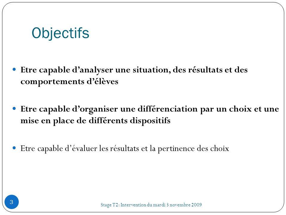 III) LES DISPOSITIFS DE DIFFERENCIATION Stage T2: Intervention du mardi 3 novembre 2009 24 4) La différenciation des contenus 1 objectif final (exemple : maîtrise dune connaissance particulière à partir dun texte) Objectif de savoir-faire 1 Exemple : éviter la paraphrase.