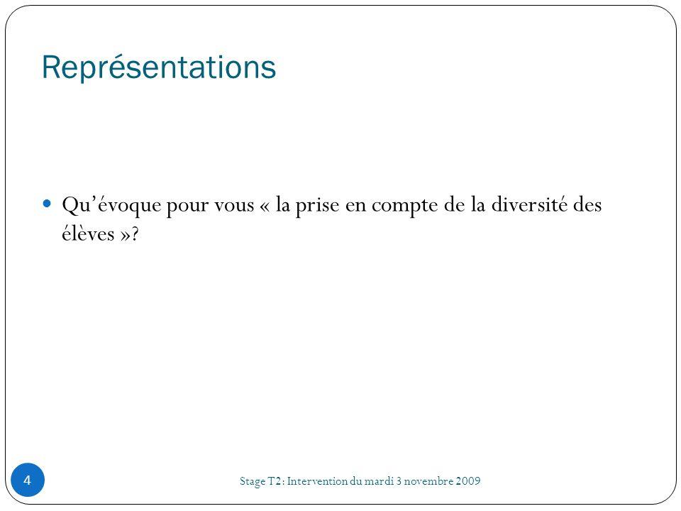 Représentations Stage T2: Intervention du mardi 3 novembre 2009 4 Quévoque pour vous « la prise en compte de la diversité des élèves »?