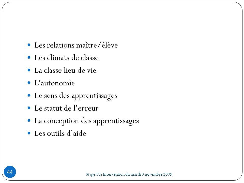Stage T2: Intervention du mardi 3 novembre 2009 44 Les relations maître/élève Les climats de classe La classe lieu de vie Lautonomie Le sens des appre