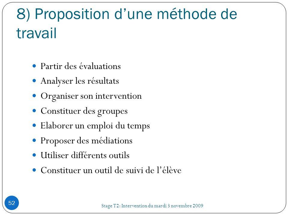 8) Proposition dune méthode de travail Stage T2: Intervention du mardi 3 novembre 2009 52 Partir des évaluations Analyser les résultats Organiser son