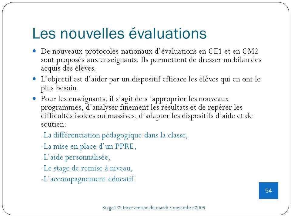 Les nouvelles évaluations Stage T2: Intervention du mardi 3 novembre 2009 54 De nouveaux protocoles nationaux dévaluations en CE1 et en CM2 sont propo