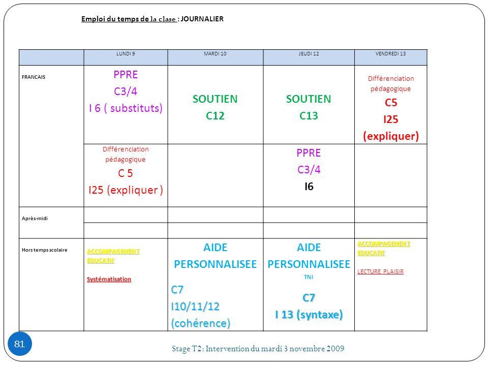 Emploi du temps de la clase : JOURNALIER LUNDI 9MARDI 10JEUDI 12VENDREDI 13 FRANCAIS PPRE C3/4 I 6 ( substituts) SOUTIEN C12 SOUTIEN C13 Différenciati