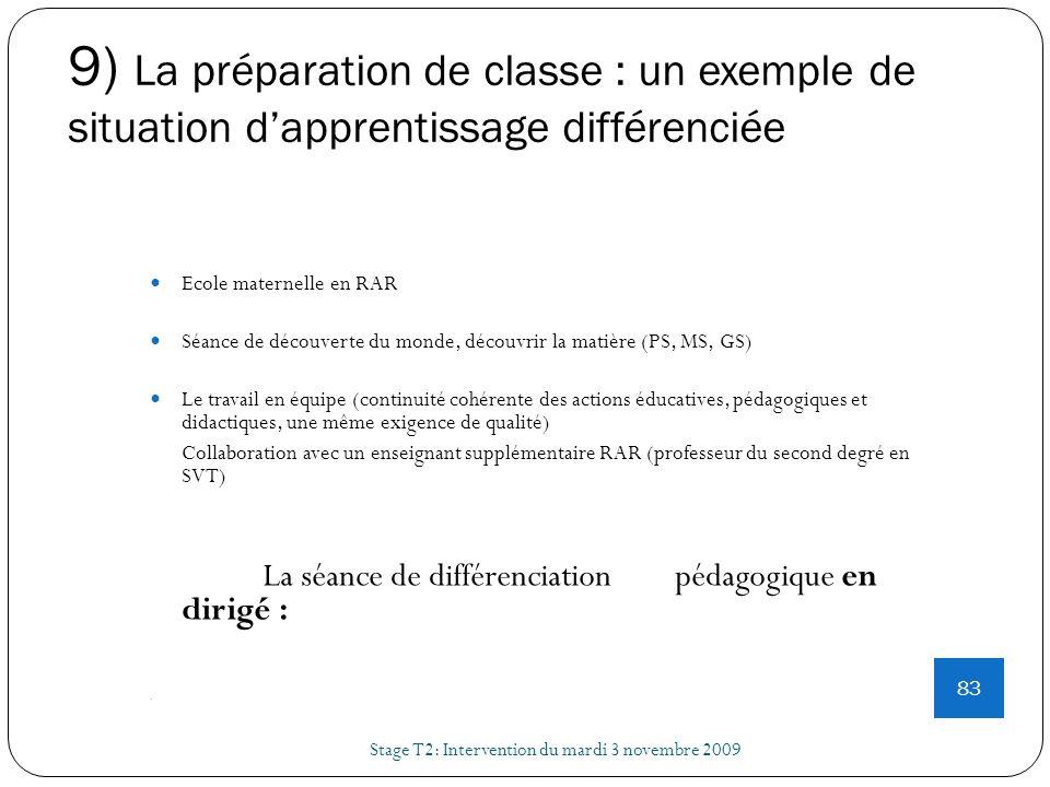 9) La préparation de classe : un exemple de situation dapprentissage différenciée Stage T2: Intervention du mardi 3 novembre 2009 83 Ecole maternelle