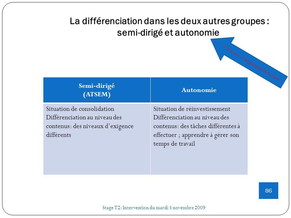 La différenciation dans les deux autres groupes : semi-dirigé et autonomie Stage T2: Intervention du mardi 3 novembre 2009 86 Semi-dirigé (ATSEM) Auto
