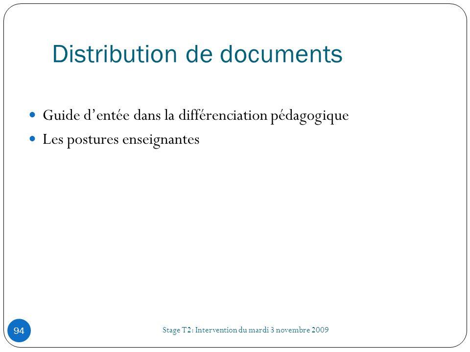 Distribution de documents Stage T2: Intervention du mardi 3 novembre 2009 94 Guide dentée dans la différenciation pédagogique Les postures enseignante