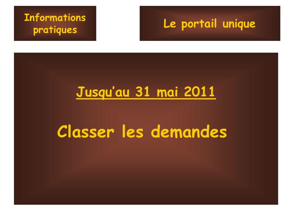 Informations pratiques Jusquau 31 mai 2011 Classer les demandes Le portail unique