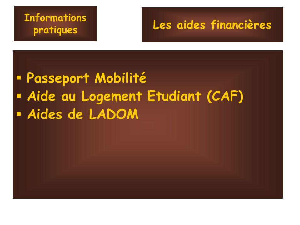 Informations pratiques Passeport Mobilité Aide au Logement Etudiant (CAF) Aides de LADOM Les aides financières