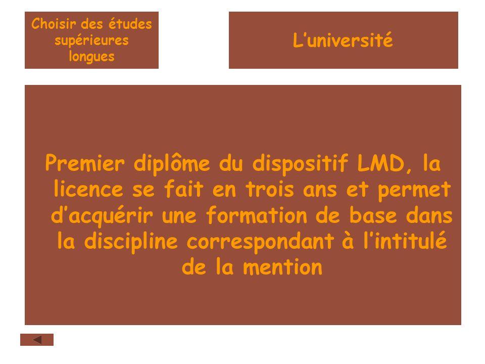 Choisir des études supérieures longues Premier diplôme du dispositif LMD, la licence se fait en trois ans et permet dacquérir une formation de base dans la discipline correspondant à lintitulé de la mention Luniversité