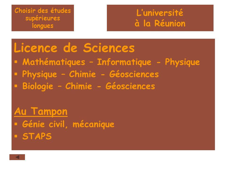 Choisir des études supérieures longues Licence de Sciences Mathématiques – Informatique - Physique Physique – Chimie - Géosciences Biologie – Chimie - Géosciences Au Tampon Génie civil, mécanique STAPS Luniversité à la Réunion