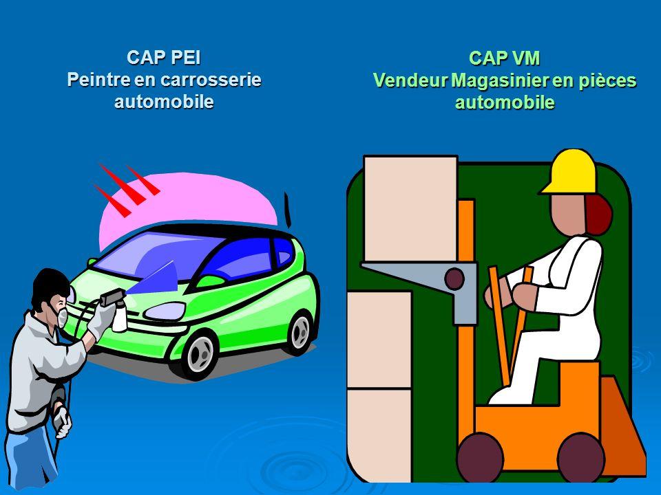 CAP PEI Peintre en carrosserie automobile CAP VM Vendeur Magasinier en pièces automobile