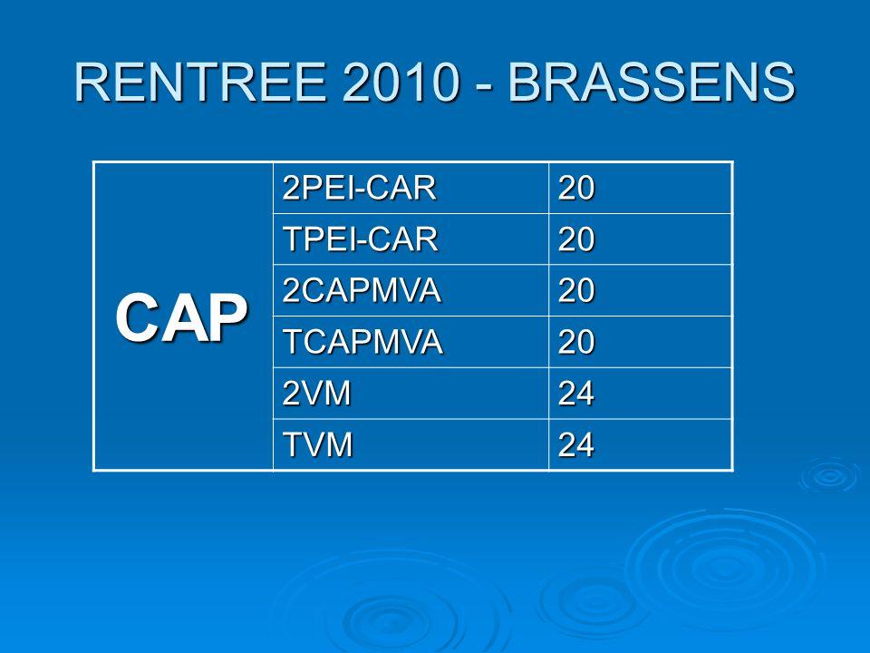RENTREE 2010 - BRASSENS CAP 2PEI-CAR20 TPEI-CAR20 2CAPMVA20 TCAPMVA20 2VM24 TVM24
