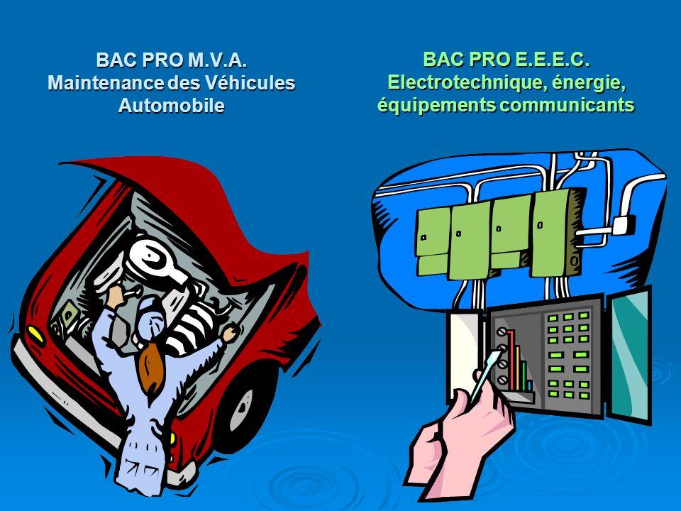 BAC PRO M.V.A. Maintenance des Véhicules Automobile BAC PRO E.E.E.C. Electrotechnique, énergie, équipements communicants