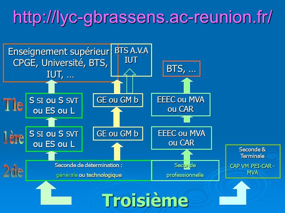 http://lyc-gbrassens.ac-reunion.fr/ Troisième Enseignement supérieur: CPGE, Université, BTS, IUT, … Seconde de détermination : générale ou technologiq