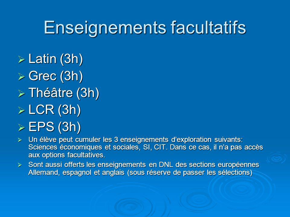 Enseignements facultatifs Latin (3h) Latin (3h) Grec (3h) Grec (3h) Théâtre (3h) Théâtre (3h) LCR (3h) LCR (3h) EPS (3h) EPS (3h) Un élève peut cumule