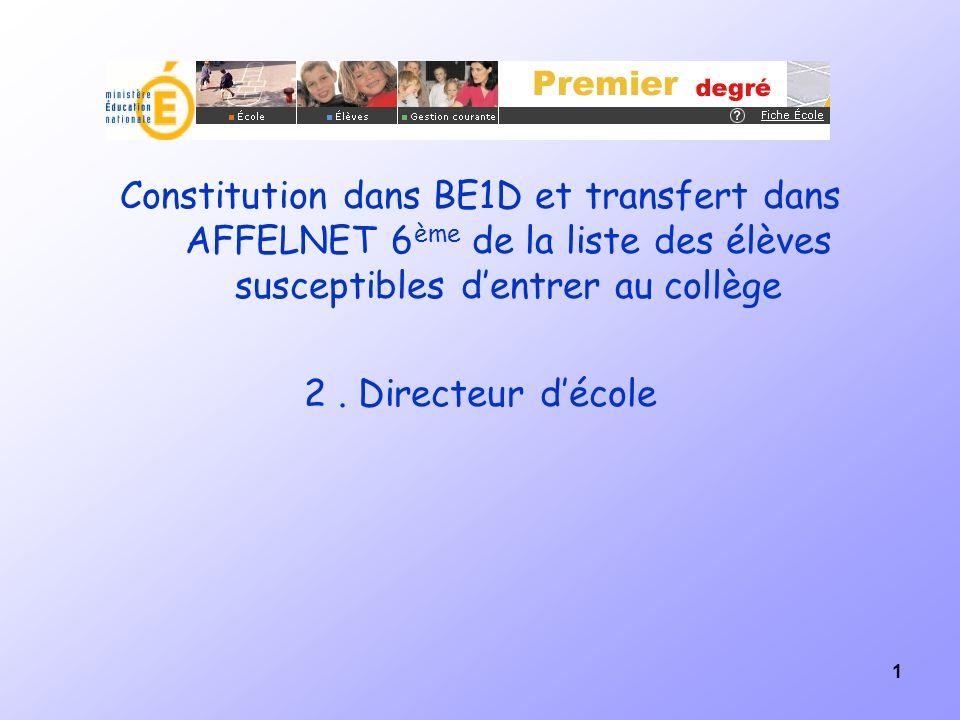 1 Constitution dans BE1D et transfert dans AFFELNET 6 ème de la liste des élèves susceptibles dentrer au collège 2. Directeur décole