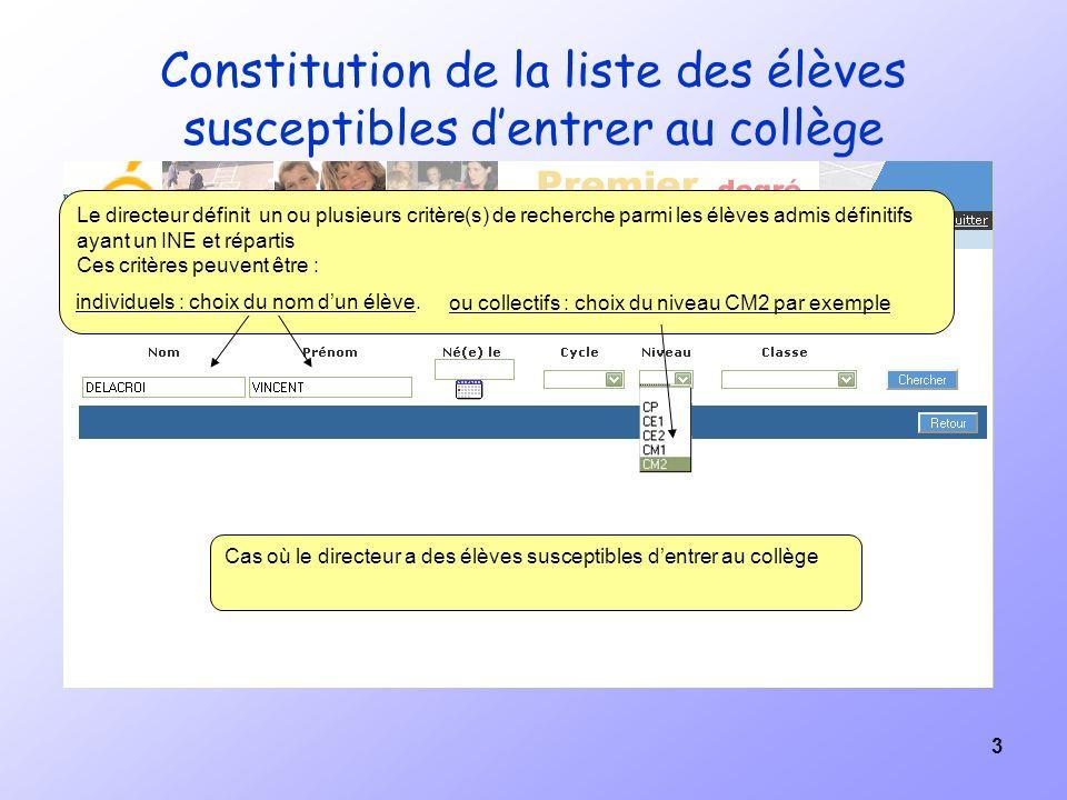 3 Constitution de la liste des élèves susceptibles dentrer au collège Le directeur définit un ou plusieurs critère(s) de recherche parmi les élèves ad