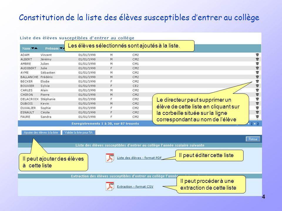 4 Constitution de la liste des élèves susceptibles dentrer au collège Les élèves sélectionnés sont ajoutés à la liste.
