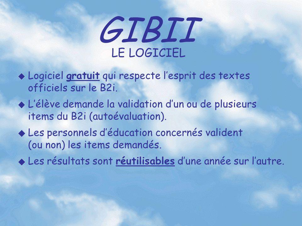 GIBII Lélève demande la validation dun ou de plusieurs items du B2i (autoévaluation). Les personnels déducation concernés valident (ou non) les items
