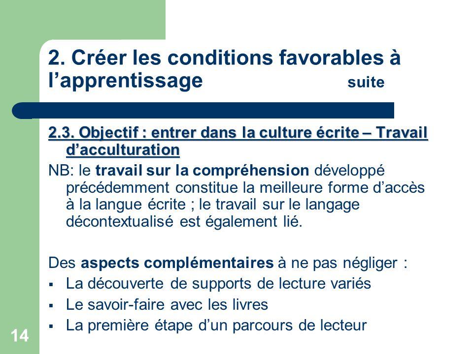 14 2. Créer les conditions favorables à lapprentissage suite 2.3. Objectif : entrer dans la culture écrite – Travail dacculturation NB: le travail sur